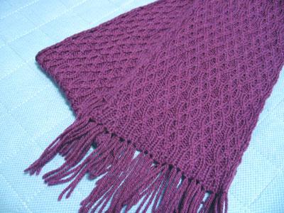 Achernar cabled scarf, flat