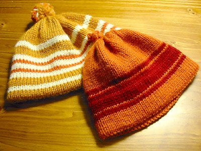 Striped baby hats