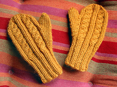 A pair of cabled child mittens