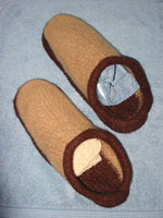 Felted clogs, blocking