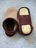 Felted clogs, with soles sewn on