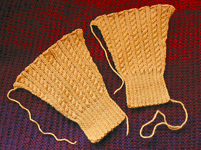 Finished sleeves for the cabled rib sweater.
