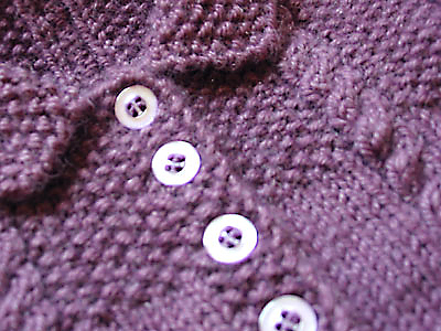 Cable and Seed Stitch Jacket, closeup of collar and button band