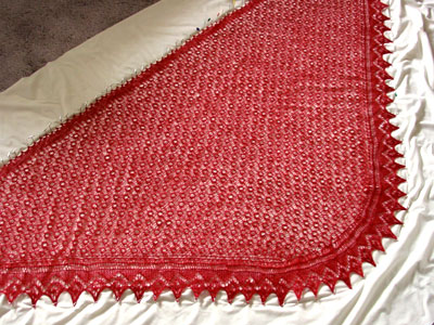 The curved shawl, blocking