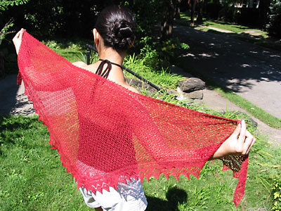 Me, modeling the curved shawl