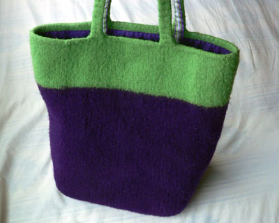 Eggplant Bag, post-felting