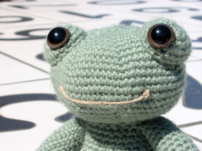 Finished Frog on a Holiday, closeup of head