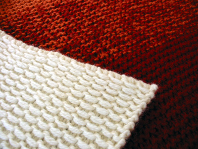 Closeup of slip-stitch pattern.