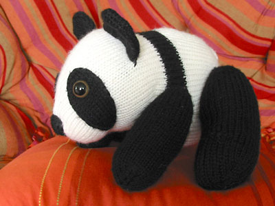 Finished panda toy, standing on all fours