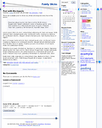 "Screenshot of ""Pointy Sticks"" Wordpress theme, 3-column version"
