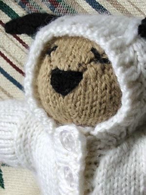 Closeup of Bear in Lamb Sleep Suit