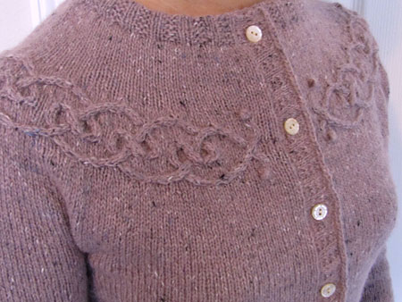 Tangled Yoke Cardigan, yoke closeup