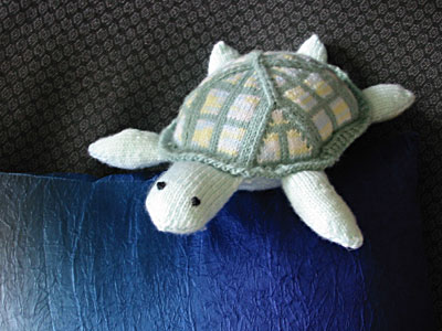 Finished knit turtle toy