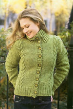 Moss Cabled Cardigan, from Tweed