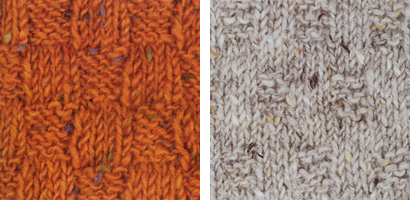 Two basketweave patterns swatched in tweed yarns